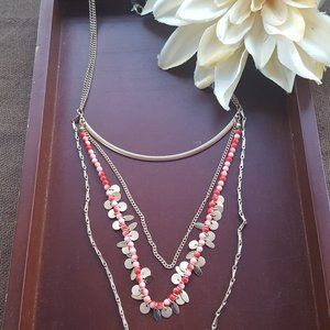 ❄Trio Coral, Pearl Pink, and Gold Necklace